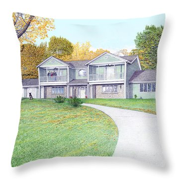Sunset House In Fall Throw Pillow
