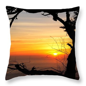 Sunset In A Tree Frame Throw Pillow