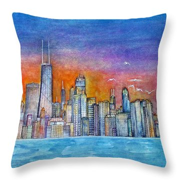 Sunset In Chi Town Throw Pillow