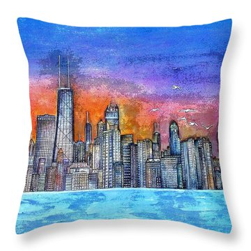 Sunset In Chicago Throw Pillow