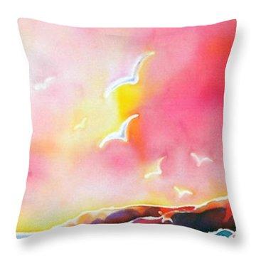 Sunset In Costa Brava Throw Pillow