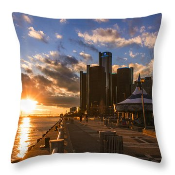 Sunset In Detroit  Throw Pillow