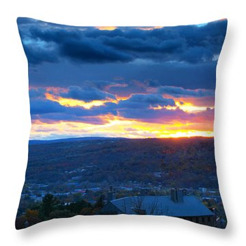 Sunset In Ithaca New York Panoramic Photography Throw Pillow