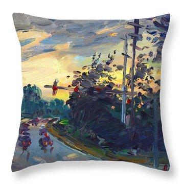 Sunset In Military Highway Norfolk Va Throw Pillow