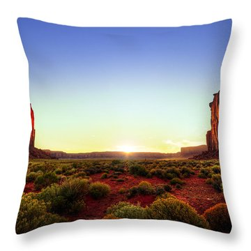 Sunset In Monument Valley Throw Pillow by Alexey Stiop