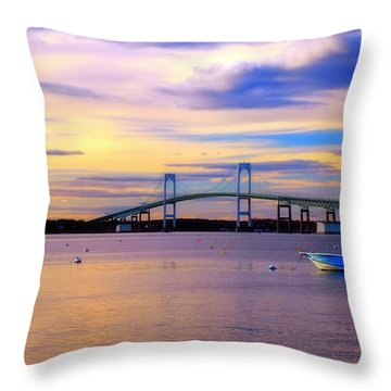 Sunset In Newport Throw Pillow by Joann Vitali