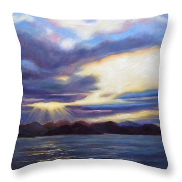 Throw Pillow featuring the painting Sunset In Norway by Janet King