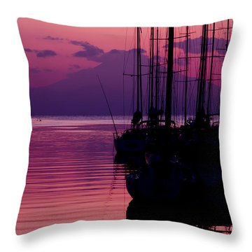 Sunset In Pink And Purple With Yachts At Bay Throw Pillow