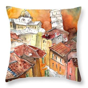 Sunset In Pisa Throw Pillow by Miki De Goodaboom