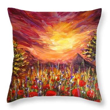 Sunset In Poppy Valley  Throw Pillow by Lilia D