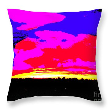 Sunset In Red Blue Yellow Pink Throw Pillow by Roberto Gagliardi