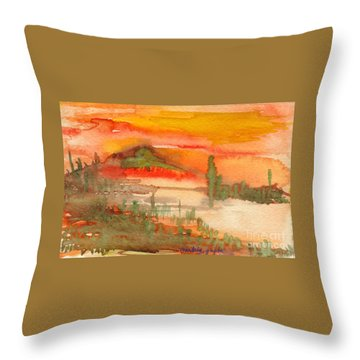 Throw Pillow featuring the painting Sunset In Saguaro Desert  by Mukta Gupta