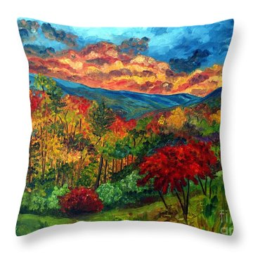 Sunset In Shenandoah Valley Throw Pillow