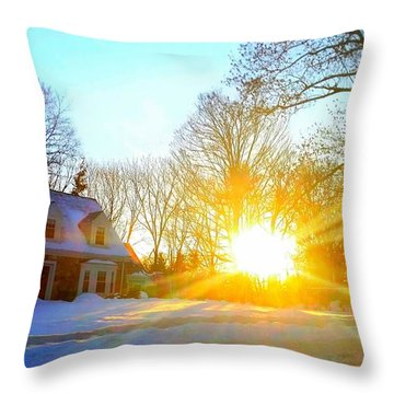 Snowy Sunset 2 Throw Pillow