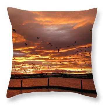 Sunset In Tauranga New Zealand Throw Pillow by Jola Martysz