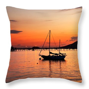 Sunset In The Harbor Throw Pillow