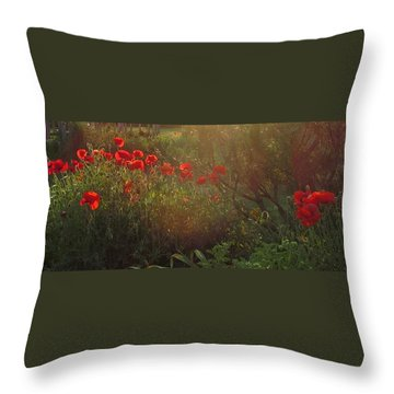 Sunset In The Poppy Garden Throw Pillow by Mary Wolf