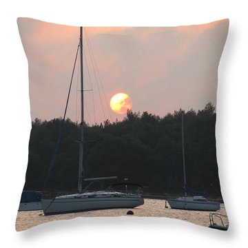 Sunset In The Port Throw Pillow by Eva Csilla Horvath