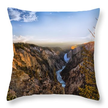 Sunset In Yellowstone Grand Canyon Throw Pillow