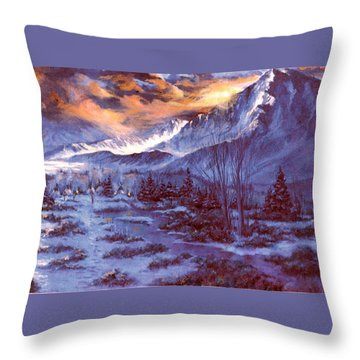 Sunset Indian Village Throw Pillow by Donna Tucker