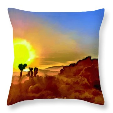 Sunset Joshua Tree National Park V2 Throw Pillow
