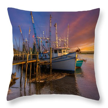 Sunset Lady Throw Pillow by Debra and Dave Vanderlaan