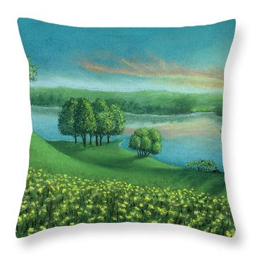 Sunset Lake A Throw Pillow