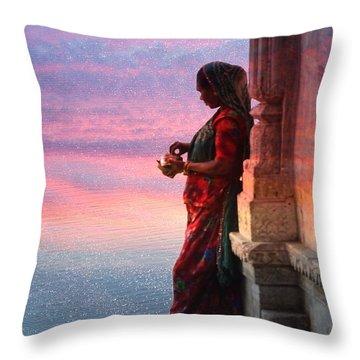 Sunset Lake Colorful Woman Rajasthani Udaipur India Throw Pillow