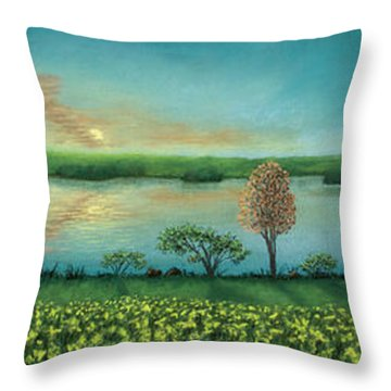 Sunset Lake Triptych Throw Pillow