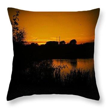 #sunset #lake #pond #water Throw Pillow