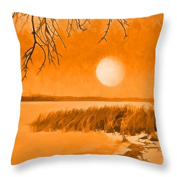Throw Pillow featuring the digital art Calm Lake Under Full Moon - Boulder County Colorado by Joel Bruce Wallach