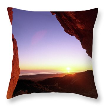 Sunset Landscape Framed  By Rock Faces Throw Pillow