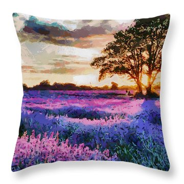 Sunset Lavender Field Throw Pillow by Georgi Dimitrov