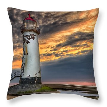 Sunset Lighthouse Throw Pillow by Adrian Evans