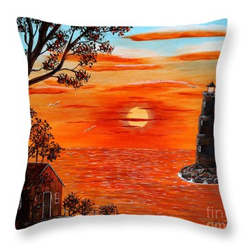 Sunset Lighthouse Throw Pillow by Barbara Griffin