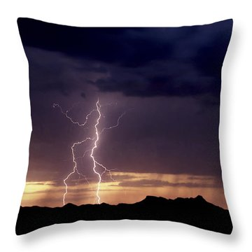 Throw Pillow featuring the photograph Sunset Lightning-signed by J L Woody Wooden