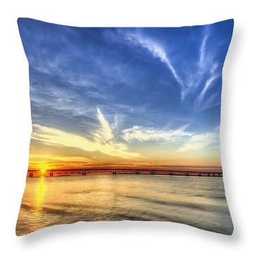 Sunset Mackinac Bridge Throw Pillow