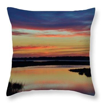Sunset Marsh Throw Pillow