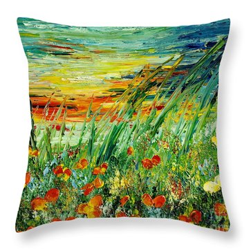 Sunset Meadow Series Throw Pillow