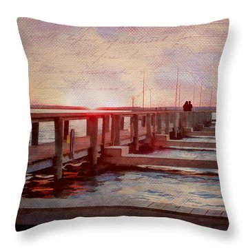Sunset Memories From Chincoteague Throw Pillow by Julia Springer