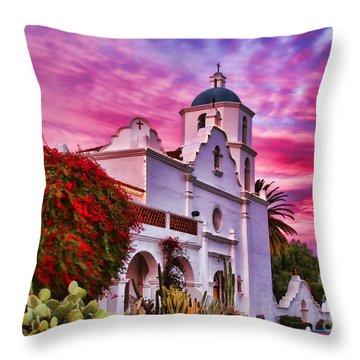 Sunset Mission San Luis Rey De Francia By Diana Sainz Throw Pillow