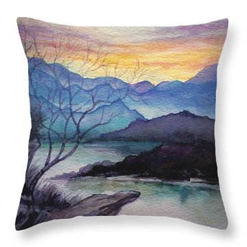 Sunset Montains Throw Pillow