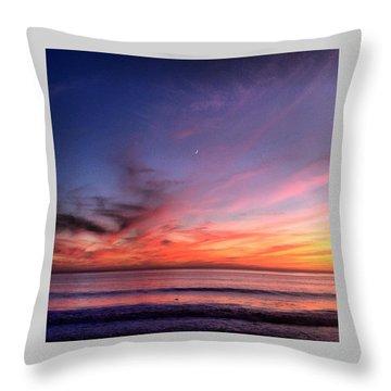 Sunset Moon Rise Throw Pillow