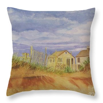 Sunset Nantucket Beach Throw Pillow by Carol Flagg