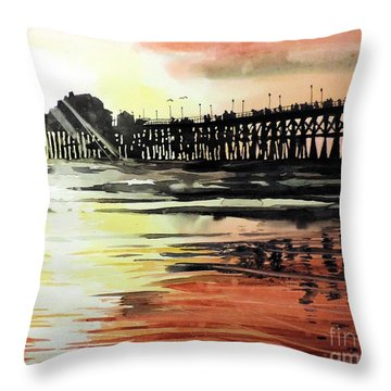 Sunset Oceanside Pier Throw Pillow by Tom Riggs