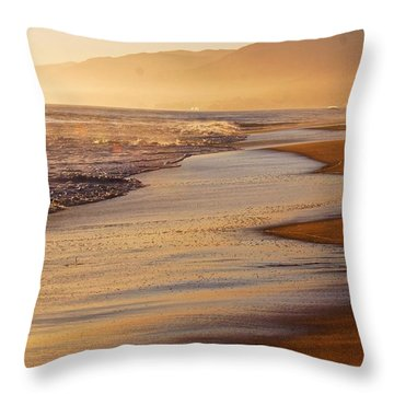 Sunset On A Beach Throw Pillow