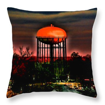 Sunset On A Charlotte Water Tower By Diana Sainz Throw Pillow