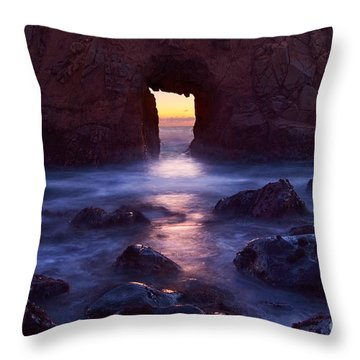 Sunset On Arch Rock In Pfeiffer Beach Big Sur In California. Throw Pillow by Jamie Pham
