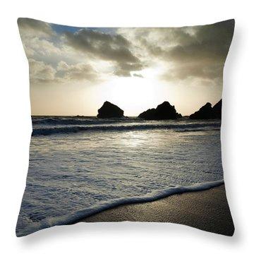 Sunset On Ballydowane Beach, Bunmahon Throw Pillow