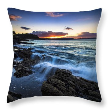 Throw Pillow featuring the photograph Sunset On Ber Beach Galicia Spain by Pablo Avanzini